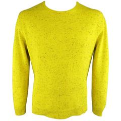RAF SIMONS XL Chartreuse Yellow & Black Speckled Merino Wool Crewneck Sweater