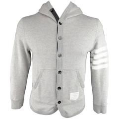 THOM BROWNE Size M Heather Gray Quilted French Terrycloth Cotton 4 Bar Hoodie