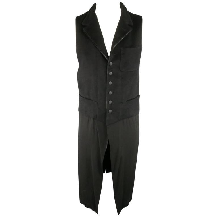 ANN DEMEULEMEESTER L Black Textured Notch Lapel Extended Layer Vest