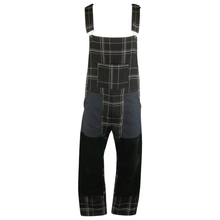 JUNYA WATANABE MAN Size L Black & White Window Pane Corduroy Patch Overalls