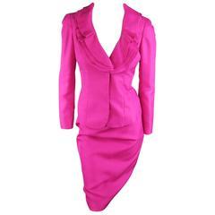 VALENTINO Size 4 Fuchsia Textured Silk Taffeta Ruffled Collar Jacket Skirt Suit