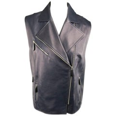 LENA LUMELSKY Size 4 Navy Leather Structured Back Motorcycle Leather Vest