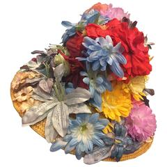 1960's Italian Straw Flower Pot Hat