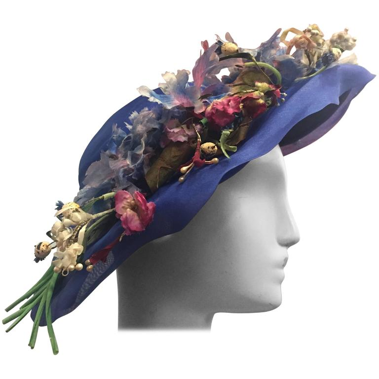 1940's Periwinkle Netted Straw Sun Hat w/ Wildflower Bouquets  For Sale