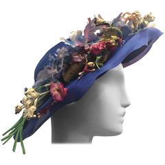 1940's Periwinkle Netted Straw Sun Hat w/ Wildflower Bouquets