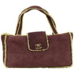Chanel Burgundy x Green Mutton Leather Hand Bag