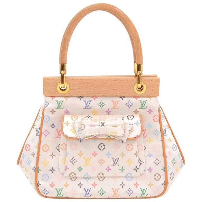 Louis Vuitton Abelia White Multicolor Mini Monogram Satin Handbag