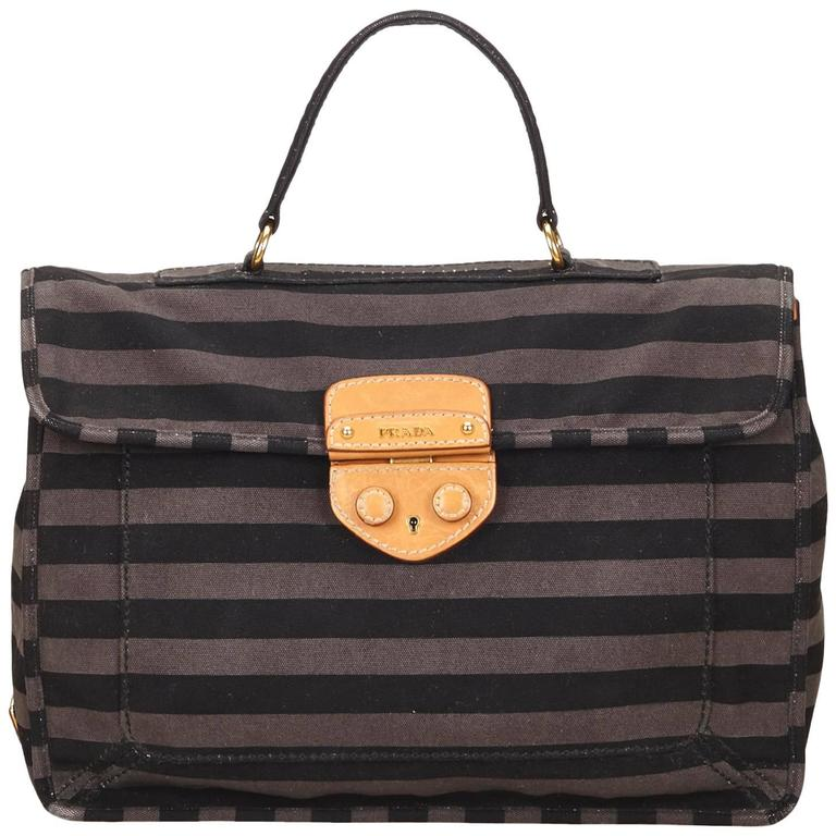 Prada Gray Striped Canvas Briefcase For Sale At 1stdibs