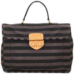 Prada Gray Striped Canvas Briefcase