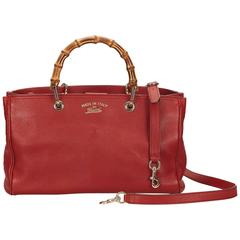 Gucci Red Leather Bamboo Top Handle Tote