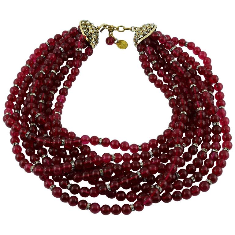 Chanel Vintage 1970s Multi-Strand Ruby Glass Necklace 1