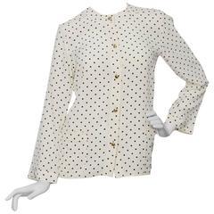 White Chanel Polka Dot Silk Blouse
