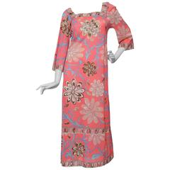 70s Emilio Pucci for Formfit Rogers Pink Maxi Dress