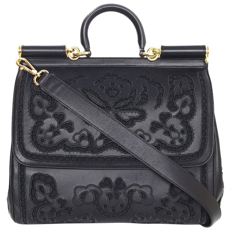 Dolce and Gabbana Black Laser Cut Lace Miss Sicily Handle Bag at 1stdibs 65c7efcaeb