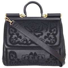 Dolce & Gabbana Black Laser Cut Lace Miss Sicily Handle Bag