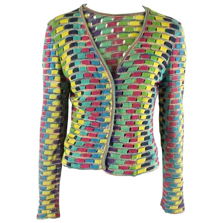Missoni Multi Cotton Knit Vintage Sweater Set - M