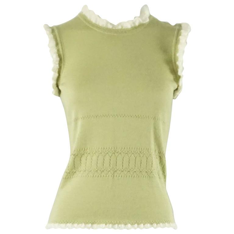 Oscar de la Renta Pastel Green Cashmere Sleeveless Top - S