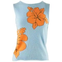 Lucien Pellat-Finet Blue Cashmere Blouse with Orange Hibiscus - S
