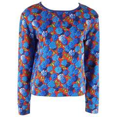 Marc Jacobs Multi Floral Long Sleeve Cotton Blend Top - XS
