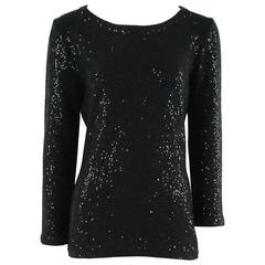Oscar de la Renta Black Knit Sweater with Sequins - L