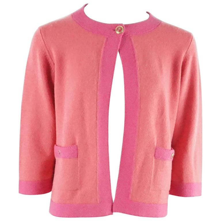 Chanel Salmon and Pink Trim Cashmere Sweater - 42 - 07P For Sale