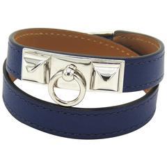 Hermes Rivale Double Tour Bracelet Blue Leather PHW Size S Box