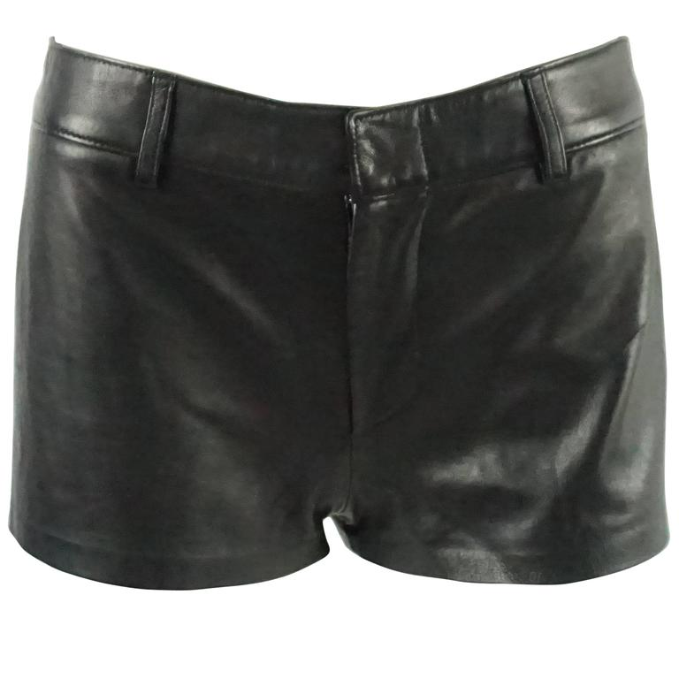 Ralph Lauren Collection Black Leather Shorts - 6 For Sale