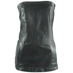 Loewe Black Leather Strapless Top - S - 1990's