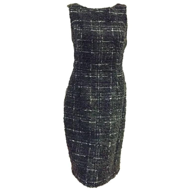 Christian Dior Aubergine and Olive Boucle Wool Blend Tweed Sleeveless Sheath  For Sale
