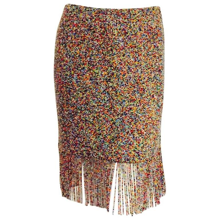 Ralph Lauren Purple Label Collection Multi Color Beaded Skirt With Long Fringe For Sale