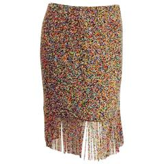 Ralph Lauren Purple Label Collection Multi Color Beaded Skirt With Long Fringe