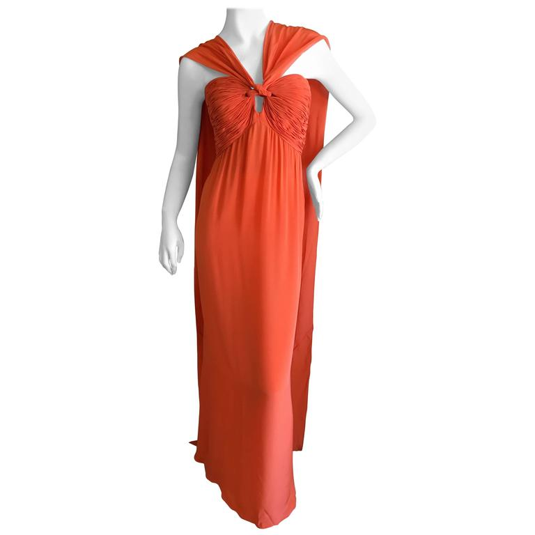 Oscar de la Renta Tangerine Strapless Evening Dress with Detachable Scarf Cape For Sale