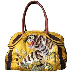 Jean Paul Gaultier Large Yellow Satin Bag with Embroidered Tiger