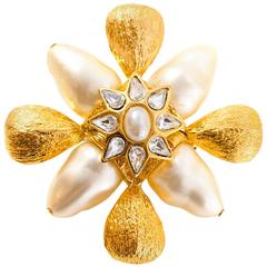 St. John Goldtone and Pearl Brooch Pendant