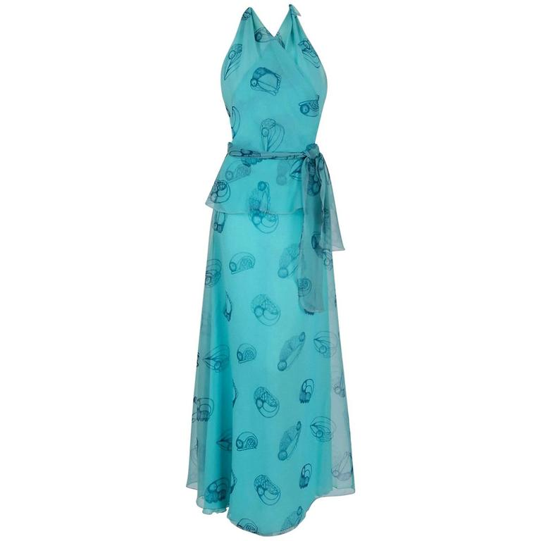 1970 Stephen Burrows Blue Bird-Novelty Print Chiffon Halter Backless Dress Set