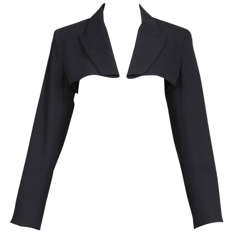 Jean Paul Gaultier Black Ultra Cropped Blazer Top For Sale