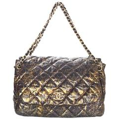 Chanel Black and Gold Quilted Print Accordion Flap Bag