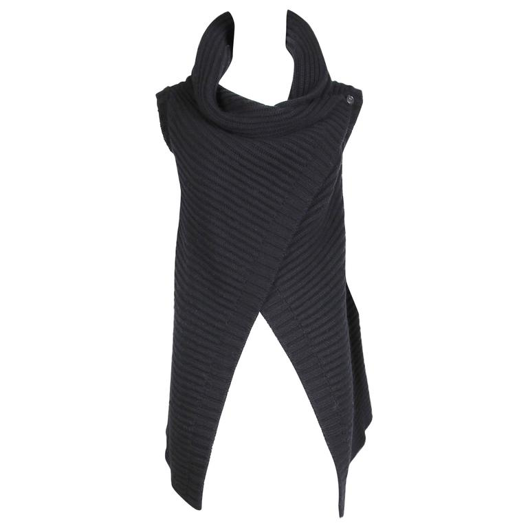 Jil Sander Black Cable Knit Wrap Vest 1