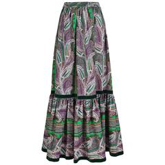 VintageYves Saint Laurent YSL Paisley Print Peasant Maxi Skirt w/Velvet Trim
