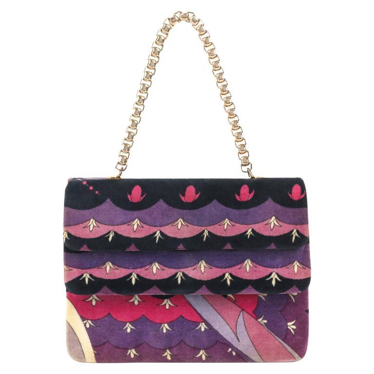 EMILIO PUCCI c.1970's Purple Floral Signature Print Velvet Purse