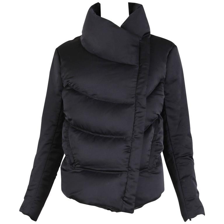 Helmut Lang Black Satin Puffer Jacket