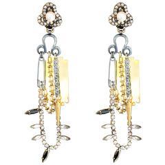 Punk Swarovski Spike Gold Plated Earrings