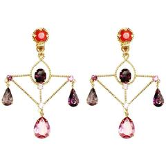Queenie Swarovski Cystral Gold Plated Drop Earrings