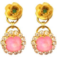 Swarovski Crystal Enamel Gold Plated Rose Drop Neon Earrings