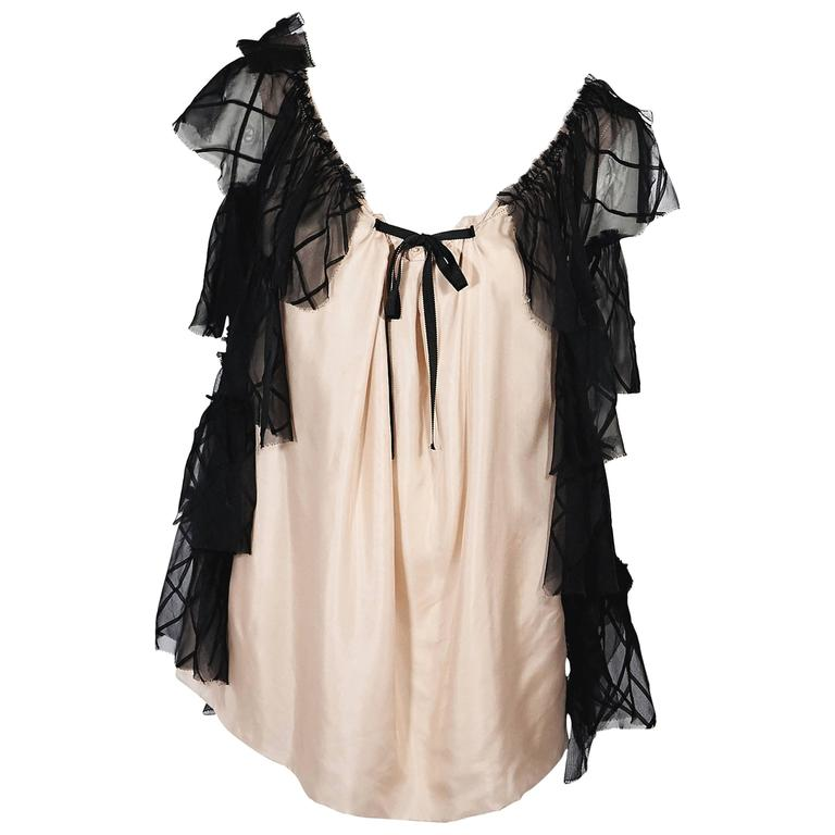 Pink & Black Vera Wang Silk Top For Sale