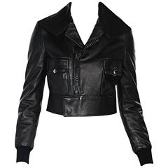 Black Givenchy Cropped Leather Jacket