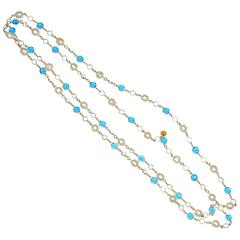 Classic Chanel Blue Crystal and Pearl Sautoir Necklace