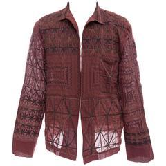 Dries Van Noten Men's Embroidered Cotton Open Front Shirt