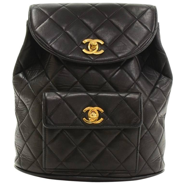 Chanel Black Quilted Lambskin Leather Medium Backpack Bag 1