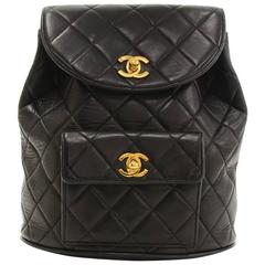 Chanel Black Quilted Lambskin Leather Medium Backpack Bag
